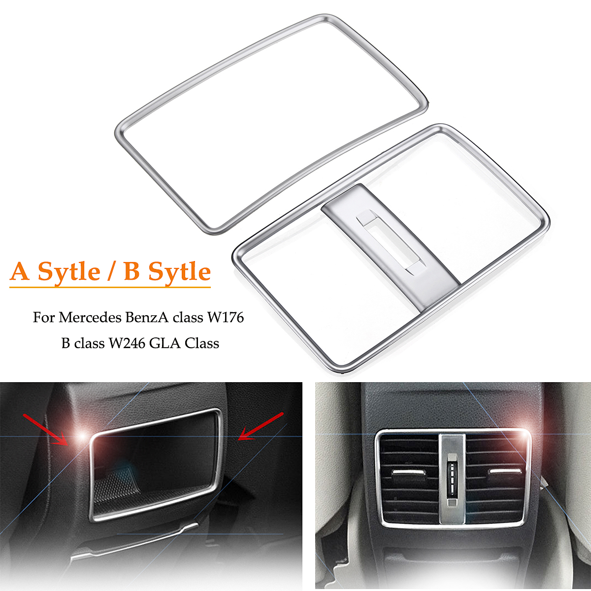 Car Rear Air Condition Outlet Vent?Trim Chrome Decoration for <font><b>Mercedes</b></font> for Benz A class <font><b>W176</b></font> B class W246 GLA Class Car Styling image