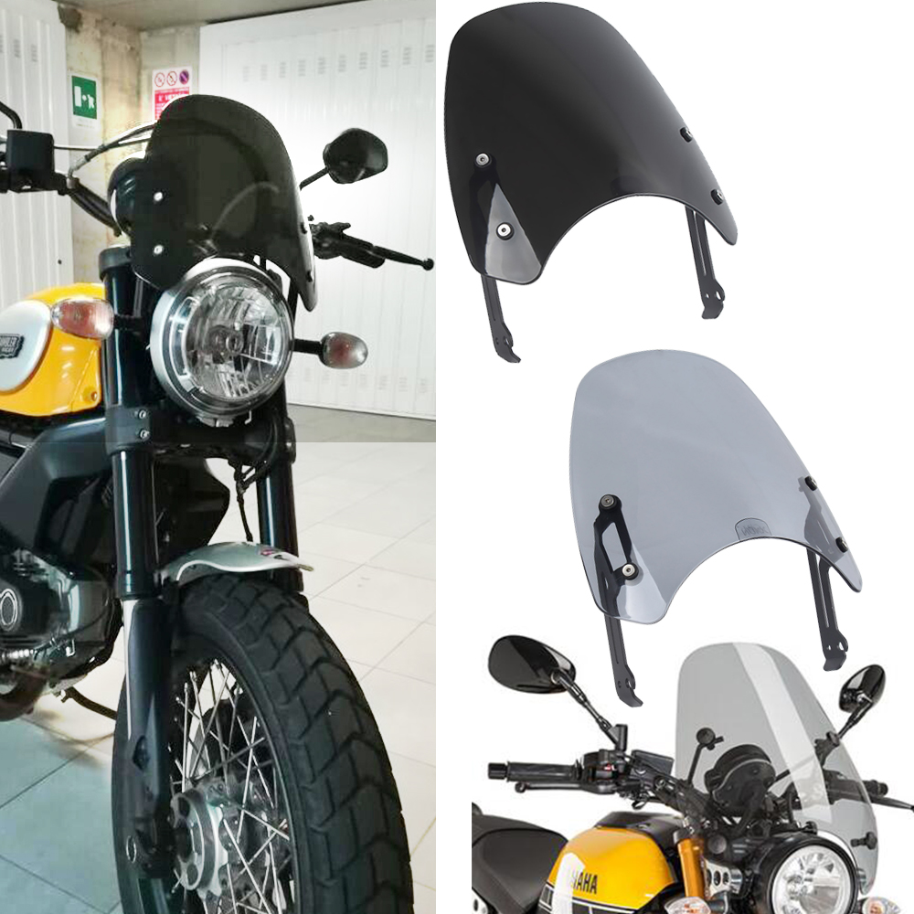 Windscreen Windshield Shield Screen Visor Deflector Protecter for Ducati Scrambler 2015 2018 Motorcycle Screen Fairing 2016 2017