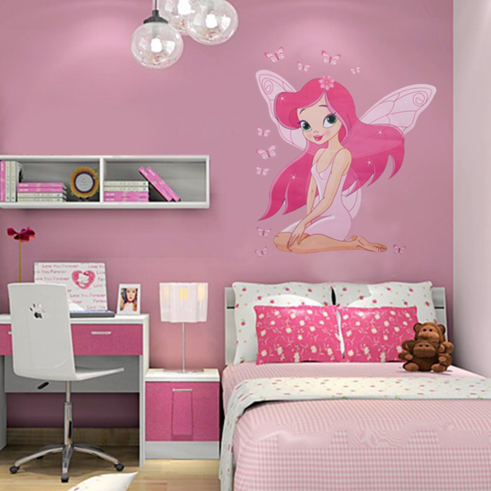 Beautiful Fairy Princess Butterly Decals Art Mural Wall Sticker Kids Girl Room  Decor Pink Color(