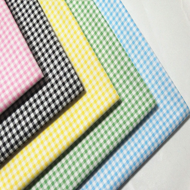 Fashion 50x160cm 6 Colors Pink Yellow Red Black Blue Green Plain Checks Printed Cotton Fabric For DIY sewing Quilting Bedding Cl
