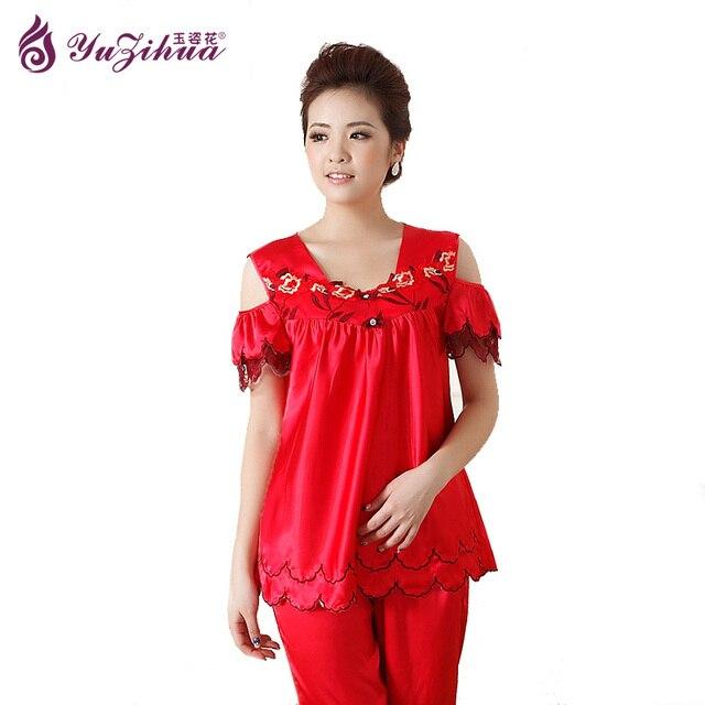 46078e5eafb5b Femmes Pyjamas Ensembles D'été À Manches Courtes Mince Coton Rayures Pyjama  Mignon Jeune Fille