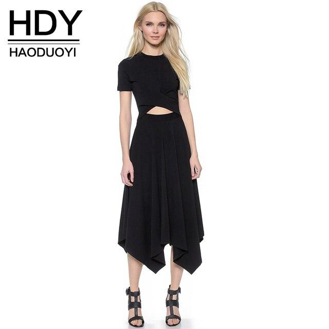Haoduoyi o-cuello de manga corta de verano de las mujeres ahueca hacia fuera irregular dress sexy vestidos de partido sólido de alta cintura delgada al por mayor
