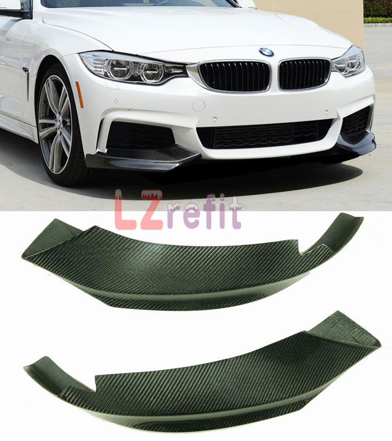 P Style Real Carbon Front Bumper Splitters For BMW F32 M Tech Bumper Only 1pair 2014UP