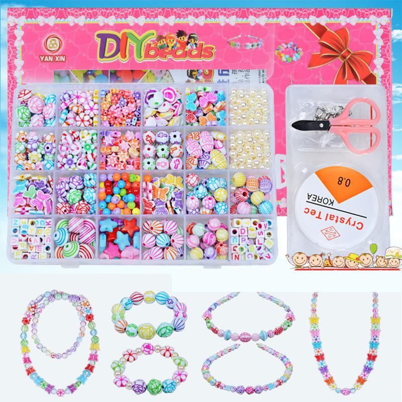Filles artisanat jouets perles pour enfants fille enfants couleur mélangée 1000 pièces bricolage acrylique perles Kits ensemble pour collier Bracelet tissage