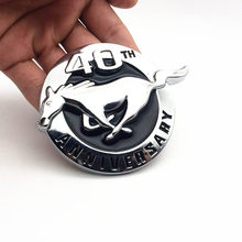 1pcs Metal 40th Year Anniversary For Mustang Running Horse car emblem Side Badge rear Trunk stickers Auto accessories For Ford цена и фото