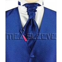 Hot Sale Free Shipping Small Check Royal Blue Simple Wedding Dress Vest Ascot Tie Cufflinks Handkerchief