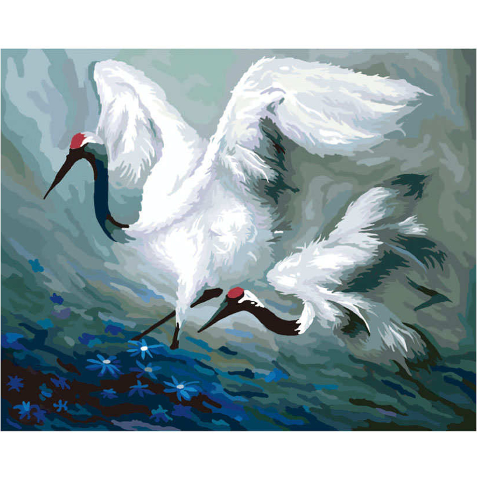 WEEN White Crane - Frame DIY Painting By Numbers kit, Wall Art Picture, Acrylic Canvas For Home Decoration 40x50cm