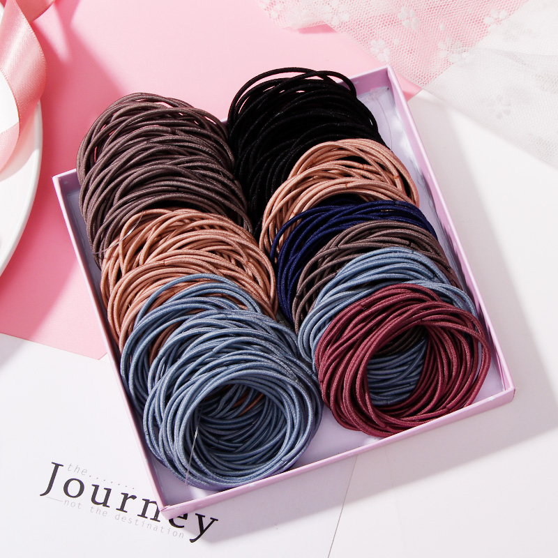 New 50/100PCS Women 4.5CM Basic Nylon Elastic Hair Bands Ponytail Hair Scrunchie Rubber Bands Headband Hair Accessories   Headwear