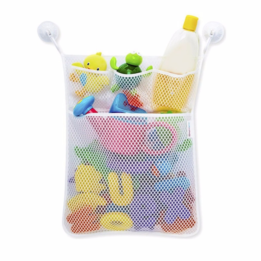 Bathroom Hanging Storage Bag Mesh Net Kids Baby Bathtub Toy Holder Organizer Polyester With Two Super Large Strong Suction Cup