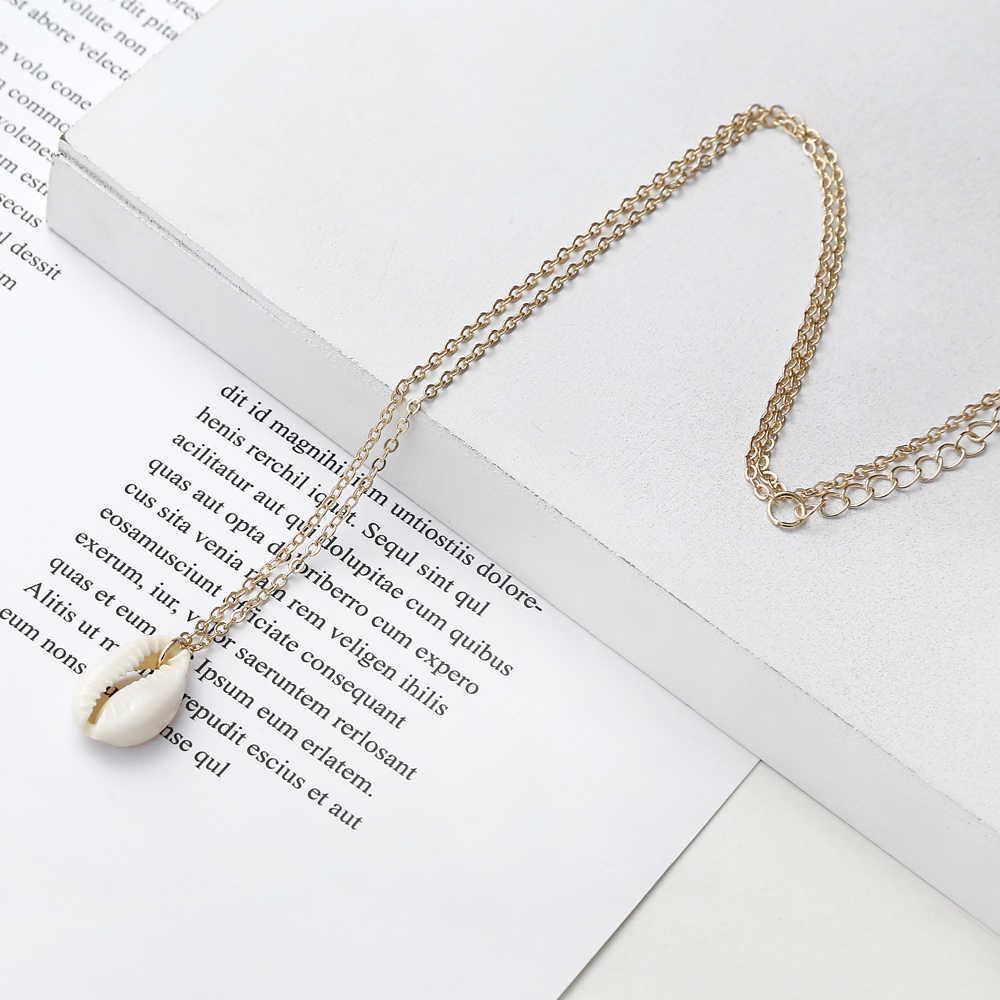 XIYANIKE ファッションナチュラルシェル貝殻ペンダントネックレス金と銀の色女性のガールフレンドのギフト海洋休暇ジュエリー