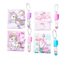 12sets/lot New cartoon Flamingo Notebook Ball point Pen Set Mini Cartoon Note Book School Supplies
