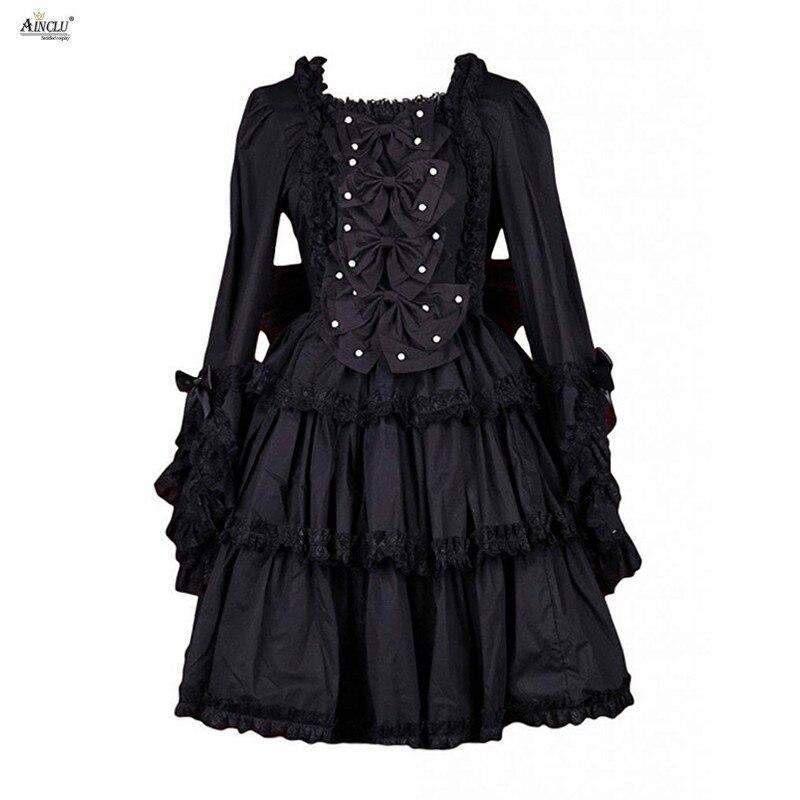 Robe de soirée Lolita a-ligne Ainclu femmes XS-XXL noir coton col carré nœud décoration manches longues doux gothique robe Lolita