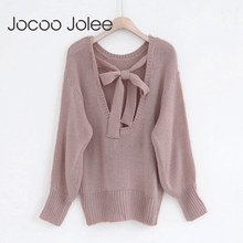 Jocoo Jolee Elegan Wanita Rajutan Backless Dasi Kupu-kupu Hollow Keluar Lengan Batwing Sweater Kasual Longgar Pullovers Plus Ukuran(China)