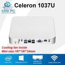 Мини-ПК Intel Celeron 1037U двухъядерный Вентилятор охлаждения мини настольный компьютер Окна 10/8/7 Linux энергосбережения офис игровой PC