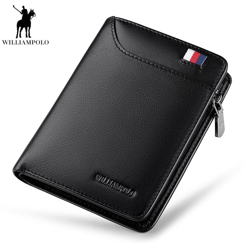 WILLIAMPOLO 2019 Men wallet Genuine Leather Driver's license Wallets Leather coin purse Designer Money Dollar PL293