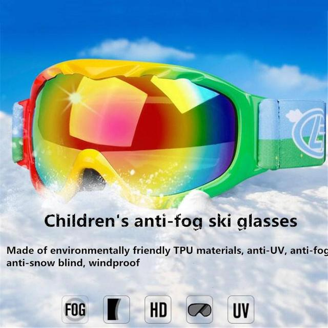 efef8bc0440 Mounchain Children Snow Skiing Goggles Anti Fog TPU UV400 double layer  Winter Snowboard Skiing Goggles for