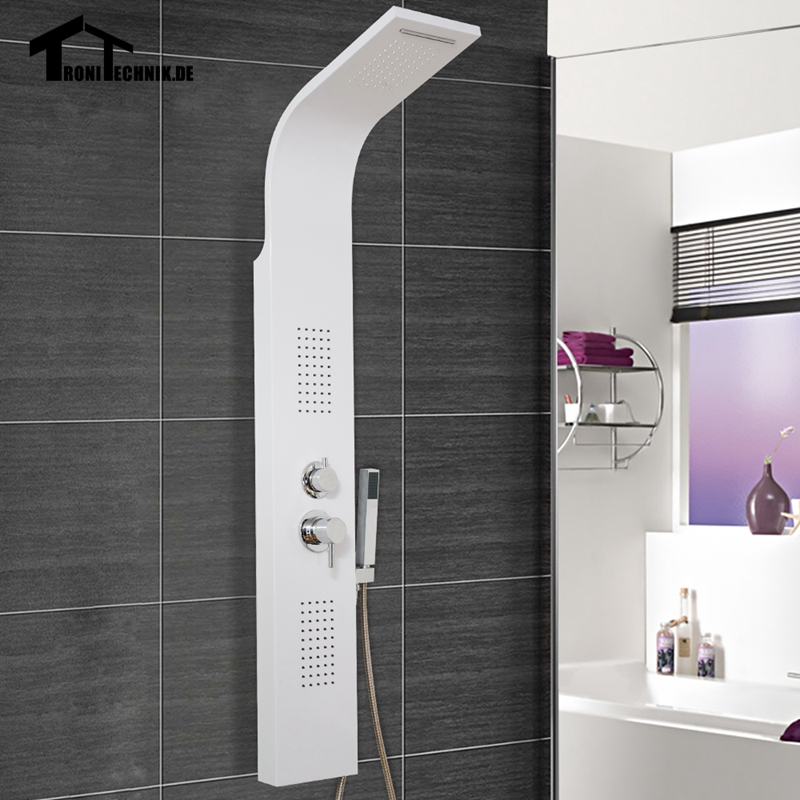 Curved bathroom white shower panel waterfall body jets for Shower tower with body jets