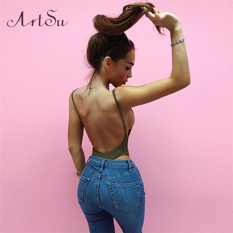 ArtSu Casual U Cutout Backless Strap Cotton Bodysuit Femme Teddy Bodycon Rompers Womens Summer Jumpsuit Overalls Mujer ASJU60122