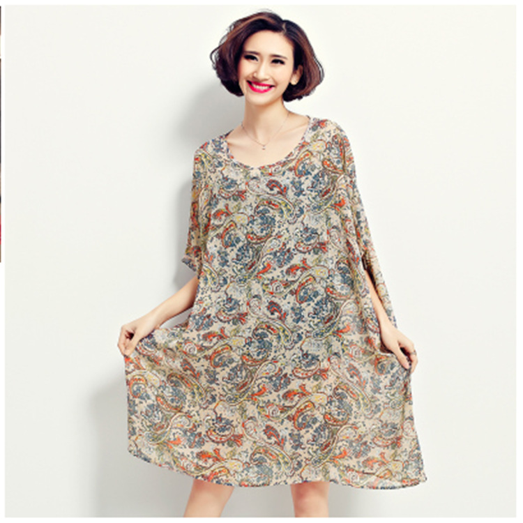 2016 summer plus size dresses american country style printed chiffon loose long shirt dress for 5xl american country style font