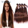 8A 4 # Sin Procesar de la Virgen Brasileña Cabello Liso 4 Bundles Armadura Brasileña Del Pelo Bundles Rosa Hair Products Brasileño de la Virgen Del Pelo