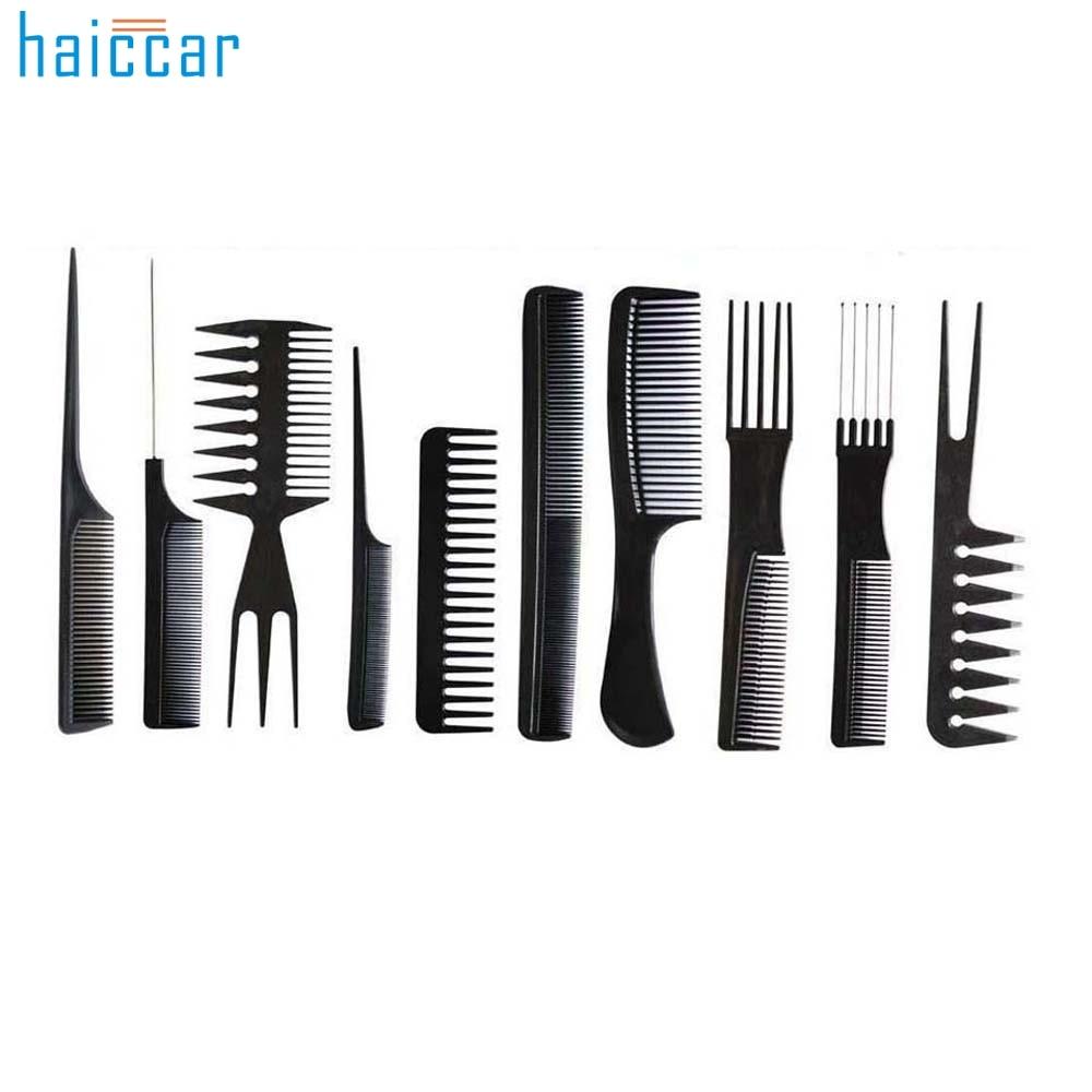 Beautiful Women 10Pcs Black Pro Salon Hair Styling Hairdressing Plastic Barbers Brush Combs Set Aug 23