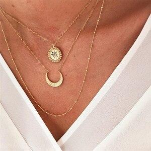 Набор многослойных ожерелий Qianraq для женщин и девушек, длинное богемное ожерелье с подвеской в виде Солнца и Луны для свиданий, шоппинга, под...