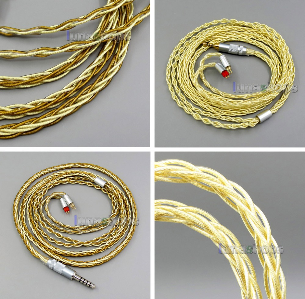 Pure OCC Silver+Golden Plated Earphone Cable For 0.78mm 2pin Westone W4r 1964 Custom custom monitor hi end 8cores silver plated westone headphone upgrade cable for w4r um3xrc ue18