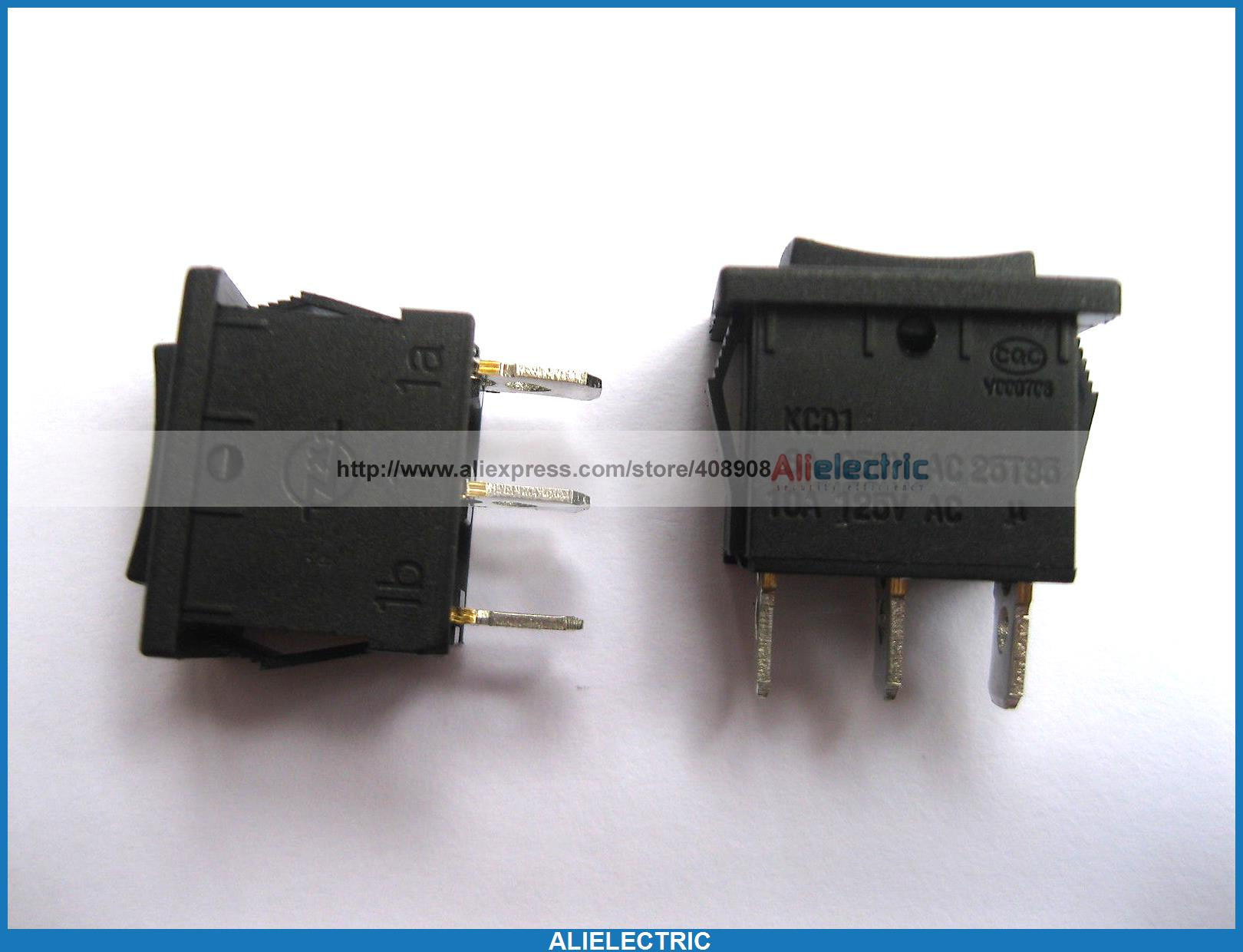 200 Pcs Rocker Switch KCD1 on Off on Black 3pin 6A 10A 20113 diy lamp line on off switch black 2 pcs