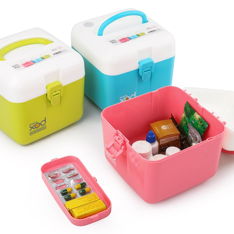 Candy-color Home Double Drug Storage Box Portable Travel Cosmetics Remote Control Headset Line Debris Storage Organizers Tools