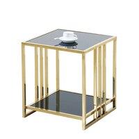 Из нержавеющей стали небольшой квадратный стеклянный верхний журнальный столик угловой современный простой журнальный столик гостиная ди