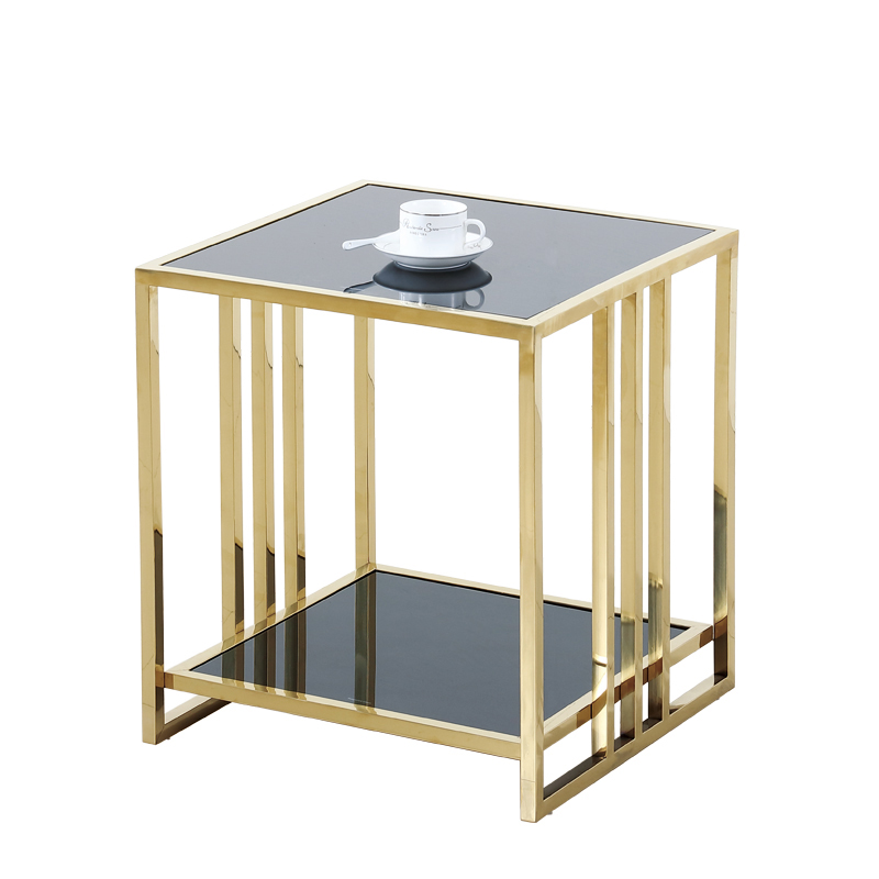 Stainless steel small square glass top coffee table corner modern simple coffee table living room sofa side cabinet bedside tab