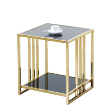 Stainless steel small square glass top coffee table corner modern simple coffee table  living room sofa side cabinet bedside tab square glass coffee table stylish minimalist modern paint coffee table tv cabinet ensemble creative