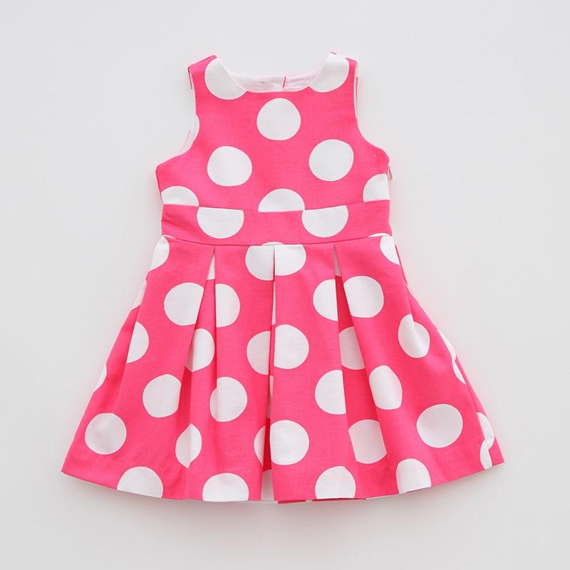 J brand Girls dress summer dress princess dress pink big wave point backless cotton vest dress