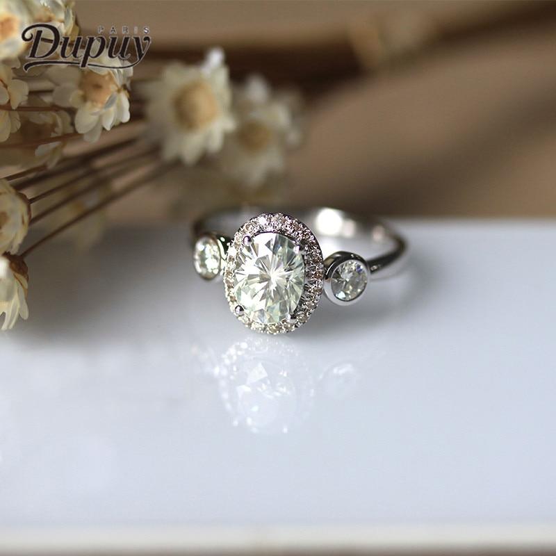 Dupuy New Oval Cut Engagement Ring 6*8mm1.5ct Engagement Diamond Ring Wedding 14K White Gold Elegant Refinement Ring D180086 dupuy women engagement ring emerald cut elegant classic moissan diamond rings 14k white gold gemstone wedding rings d180355