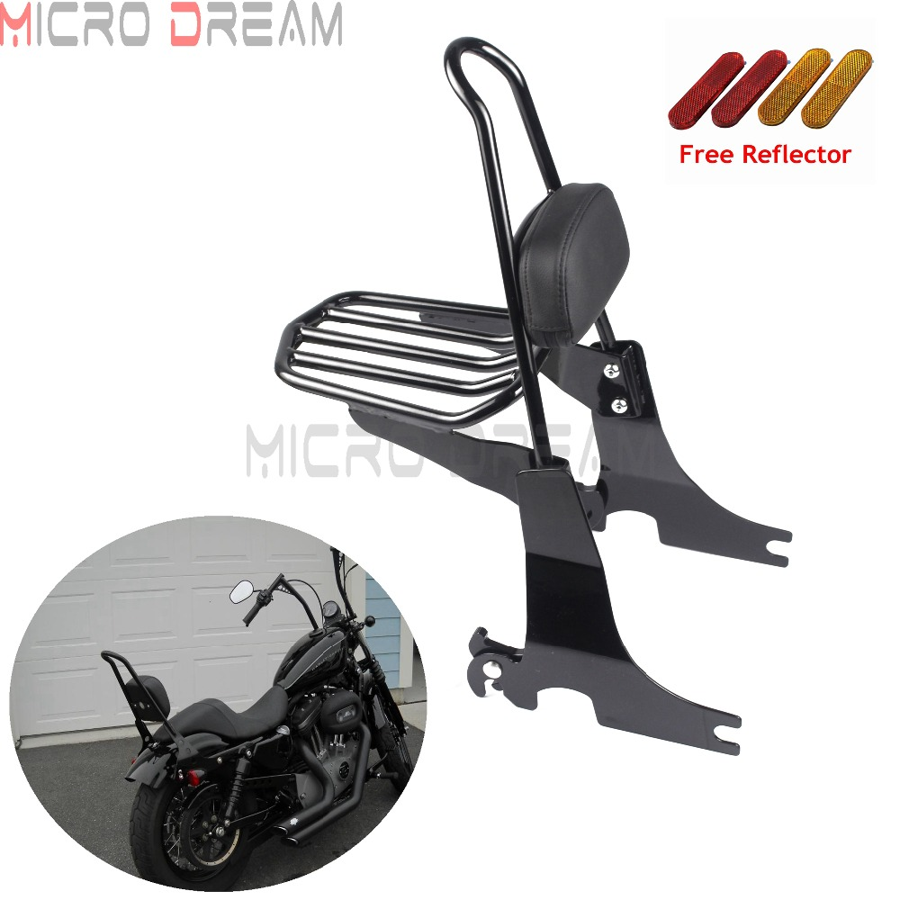 Detachable Sissy Bar Luggage Rack Passenger Backrest Back Pad For Harley Sportster 1994 2003 Nightster Roadster