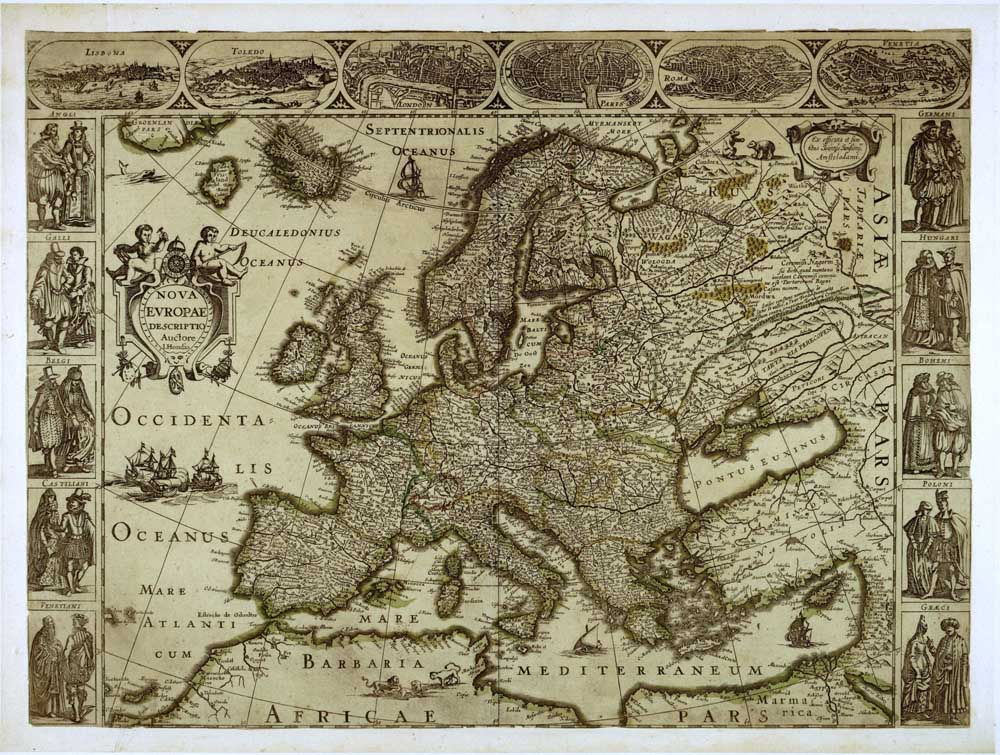 Ancient Medieval Europe Retro Map Wall Art HD Picture Canvas Print ...