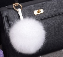15cm Luxury Fluffy Real Fox Fur Ball Pom Pom Plush Size Genuine Fur Key Chain Metal Ring Pendant Bag Charm Fo-K010-white