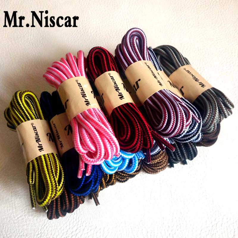 Mr.Niscar 2 Pair Fashion Boots Polyester Shoelaces Round Outdoor Casual Sport Shoe Laces Round Double Striped Bootlaces String jup 50 pairs sneaker shoelaces skate boot laces outdoor sport casual multicolor bumps round shoelace hiking slip rope shoe laces