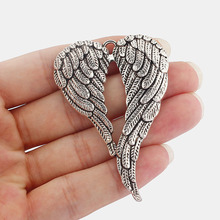 5 Pcs Antique Silver Tone Large ANGEL WINGS FEATHER Charms Pendants Jewelry Findings 69x47mm