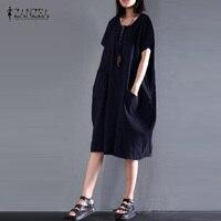 ZANZEA Round Collar Short Sleeve Button Pockets Striped Knee Length Dress Female Leisure Cotton Linen Vintage