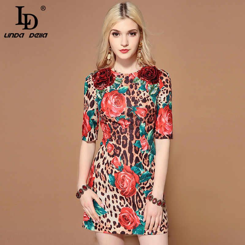 Женское платье с блестками LD LINDA DELLA, летнее разноцветное платье, платье с цветочным рисунком и коротким рукавом, платье с леопардовым принтом 2019