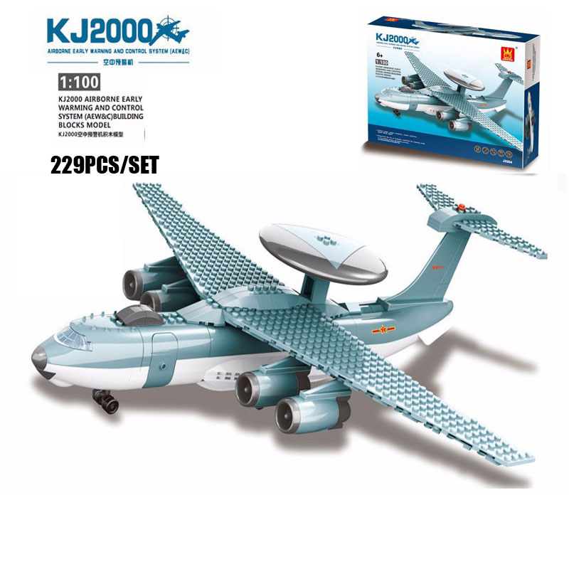 New KJ2000 Airborne Early Warming And Control System AEW&C Classic Military Aircraft Model Building Blocks Brick Educational Toy legend airborne бермуды