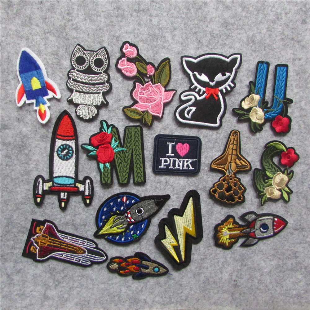 hot sale high quality flower Embroidery Iron on Patches for Clothing DIY Stripes Clothes Planet Stickers Universe Applique