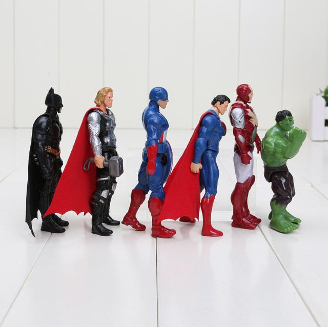 6pcs/set 8-10cm Super Hero The Avengers action figure set Toys Spiderman Captain America Hulk