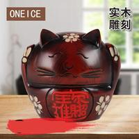 Pure Hand carved Peach Wood Lucky Cat Piggy Bank Simple Creative Home Mahogany Decoration