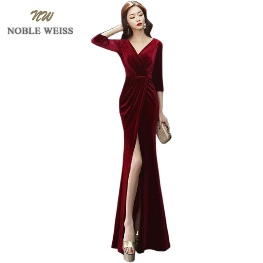 NOBLE WEISS Mermaid Evening Gowns 2019 Burgundy Prom Dress Sexy V Neck Side Split Long Evening Dresses