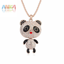 Collar Time-limited Rushed Romantic Women Lock Collares Jewelry 2017 Panda Crystal Pendant Necklace Jewelry #101273