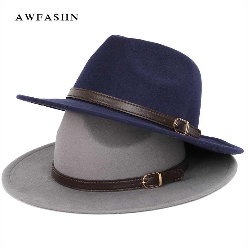 a7762ea24e8 top vintage wide brim hat mens pork pie hats women s felt hat autumn winter  men s hat wool luxury Woman Bone large size big