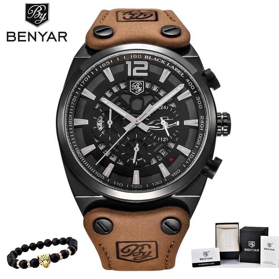 Relojes BENYAR para hombre estilo deportivo militar de marca líder, reloj pulsera informal de cuarzo y acero inoxidable masculino sumergible de lujo.