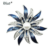 RHao Enamel Redbud Flower brooches for Women men clothes accessories corsage Purple blue Enamel Flower Brooch pins hijab pins
